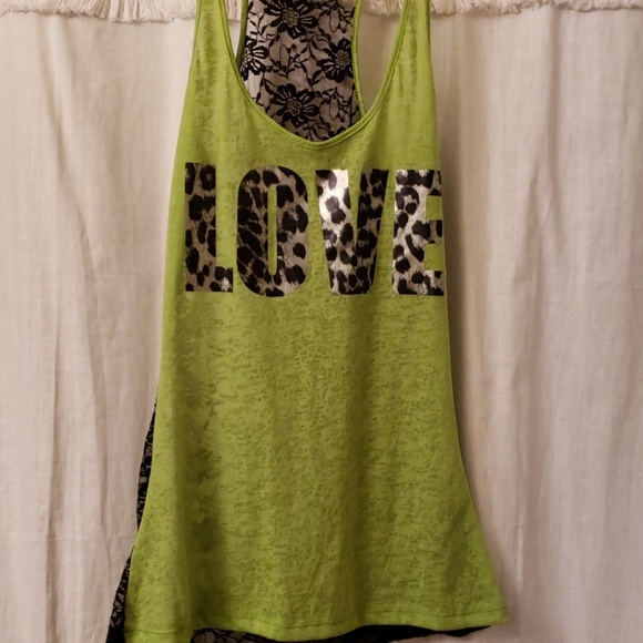dcc6f3190bd7d Wet Seal Tops | Tank Top Black Lace And Green Cotton L | Poshmark